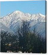 Frosty Mountain Top View From Rancho Cucamonga Ca. Canvas Print