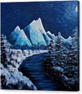 Frosty Night In The Mountains Canvas Print