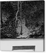 Frozen Bench Canvas Print