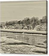 Frozen Boathouse Row In Sepia Canvas Print