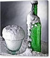 Frozen Bottle Ice Cold Drink Canvas Print