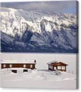 Lake Minnewanka, Alberta - Banff - Frozen Docks Canvas Print