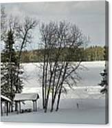 Frozen Lake Fishing Canvas Print