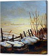 Frozen Lake Near Ste. Adele Canvas Print