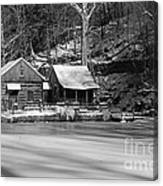 Frozen Pond In Black And White Canvas Print