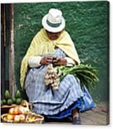 Fruit And Vegetable Vendor Cuenca Ecuador Canvas Print
