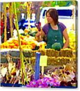 Fruit And Vegetable Vendor Roadside Food Stall Bazaars Grocery Market Scenes Carole Spandau Canvas Print
