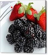 Fruit Iv - Strawberries - Blackberries Canvas Print