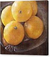 Fruit Still Life Oranges And Antique Silver Canvas Print