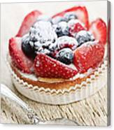 Fruit Tart With Spoon Canvas Print