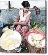 Fruit Vendor On Street Yangon Myanmar Canvas Print