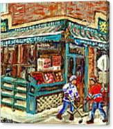 Fruiterie Epicerie Soleil Verdun Montreal Depanneur Paintings Hockey Art Montreal Winter City Scenes Canvas Print