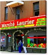 Fruiterie Marche Laurier Butcher Boulangerie De Pain Produits Quebec Market Scenes Carole Spandau  Canvas Print