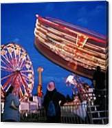 Fryeburg Fair At Night  Watching The Round-up Canvas Print