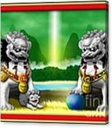 Fu Dog Guardians Canvas Print