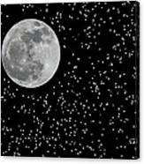 Full Moon And Stars Canvas Print