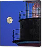 Full Moon And West Quoddy Head Lighthouse Beacon Canvas Print