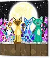 Full Moon Felines Canvas Print