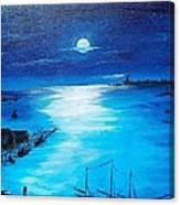 Full Moon Harbor Canvas Print