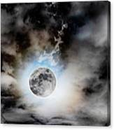 Full Moon  In Stormy Sky Canvas Print