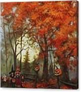 Full Moon On Halloween Lane Canvas Print