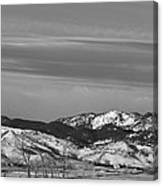 Full Moon On The Co Front Range Bw Canvas Print