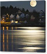 Full Moon Over Kennebec River Georgetown Island Maine Canvas Print