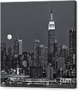 Full Moon Rising Over New York City Iv Canvas Print
