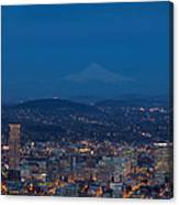 Full Moon Rising Over Portland Cityscape Canvas Print