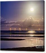 Full Moon Rising Over Sandgate Pier Canvas Print