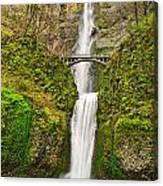 Full View Of Multnomah Falls In The Columbia River Gorge Of Oregon Canvas Print