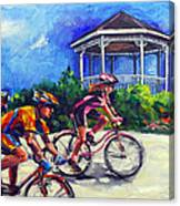 Fun Time In Bicycling Canvas Print