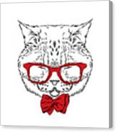 Funny Cat In A Tie And Glasses. Vector Canvas Print