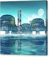 Futuristic City On Water Canvas Print