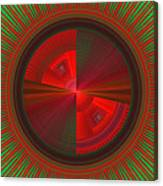 Futuristic Green And Red Tech Disc Fractal Flame Canvas Print