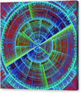 Futuristic Tech Disc Red And Blue Fractal Flame Canvas Print