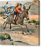 Galloping Donkey At The Beach Canvas Print