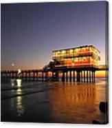 Galveston Fishing Pier 2am-108856 Canvas Print