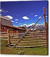 Gambrel Barn And Tetons Canvas Print
