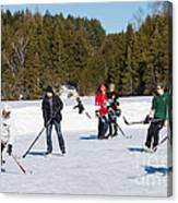 Game Of Ice Hockey On A Frozen Pond  Canvas Print
