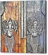 Ganesh Door Plating At The Yoga Maya Hindu Temple In New Delhi India Canvas Print
