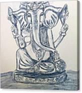 Ganesha In Blue Canvas Print