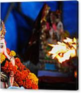 Ganesha Worship Canvas Print