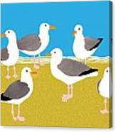 Gang Of Gulls On The Beach Canvas Print
