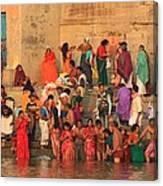Ganges Pilgrims Canvas Print