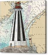 Gannet Rock Lighthouse New Brunswick Canada Nautical Chart Art Canvas Print