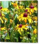 Garden Flowers In Yellow Canvas Print