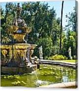 Garden Fountain - Iconic Fountain At The Huntington Library And Botanical Ga Canvas Print