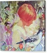Garden Girl - Antique Collage Canvas Print
