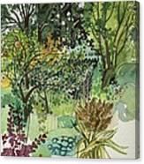 Garden In Llandielo, 1999 Watercolour On Paper Canvas Print